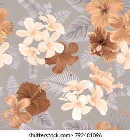 Tropical seamless pattern with hibiscus flower and leaf on earth tone color background. Vector set of exotic tropical garden for wedding invitations, greeting card and fashion design.