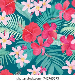 Tropical seamless pattern with hibiscus and plumeria flower with leaf on green background. Vector set of exotic tropical garden for wedding invitations, greeting card and fashion design.