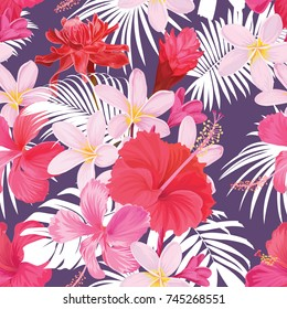 Tropical seamless pattern with hibiscus syriacus and plumeria flower with leaf on purple background. Vector set of exotic tropical garden for wedding invitations, greeting card and fashion design.