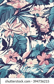 Tropical seamless pattern with hibiscus.Vector