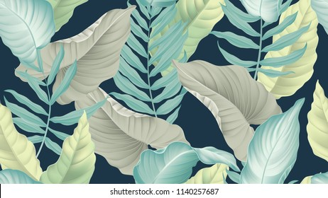 Tropical seamless pattern,  King of Heart leaf, yellow palm and dumbcane leaves on dark blue background, pastel vintage style