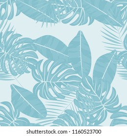 Tropical seamless pattern with leaves. Beautiful tropical isolated leaves. Fashionable summer background with leaves for fabric, wallpaper, paper, covers.