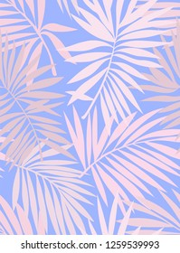 Tropical seamless pattern with leaves. Beautiful tropical isolated leaves. Fashionable summer background with leaves for Tropical seamless pattern. Palm tree leaves. For print, wallpaper, fabric.