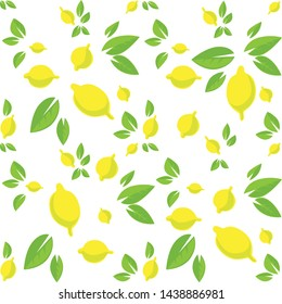 Tropical seamless pattern with lemons and leaves on white background