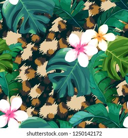 Tropical seamless pattern. Leopard print. Animal background. Vector illustration