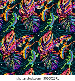 Tropical Seamless pattern with lizards and amulticolor leaves
