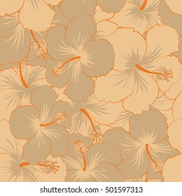 Tropical seamless pattern with many beige hibiscus flowers. Beige vector seamless pattern.