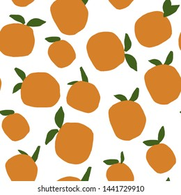 Tropical seamless pattern with oranges. Hand drawn fruit wallpaper. Vector orange fruit print for apparel , fabric, wallpaper.