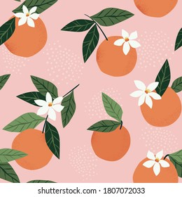 Tropical seamless pattern with oranges on a pink background. Fruit repeated background. Vector bright print for fabric or wallpaper.