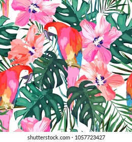 Tropical seamless pattern. Palm tree leave, flower hibiscus and parrot. Hand drawn vector illustration. Summer background