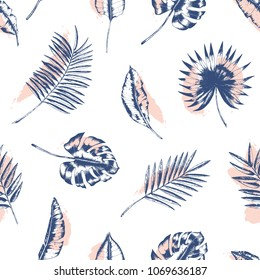 Tropical seamless pattern with palm tree, monstera and banana leaves drawn with contour lines against pink stains on white background. Backdrop with foliage of jungle plants. Vector illustration.