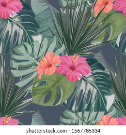 Tropical seamless pattern. Palm tree leaves and flower hibiscus . Vector illustration. Summer background