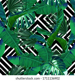 Tropical seamless pattern. Palm tree leaves, chevron. Vector illustration. Retro background.