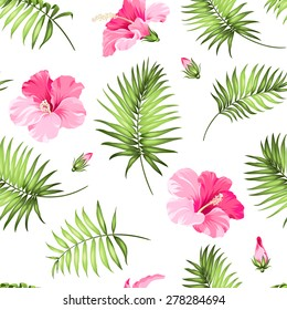 Tropical seamless pattern. Palm trees and hibiscus. Vector illustration.