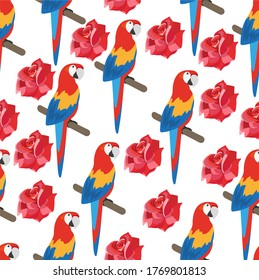 Tropical seamless pattern with parrot, rose. Stylish tropical background with a parrot.