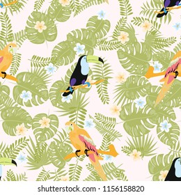 Tropical seamless pattern with a parrot, toucan and tropical flowers and leaves.