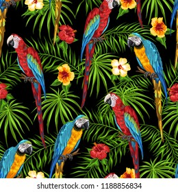 Tropical seamless pattern with parrots. Palm leaves, hibiscus flowers and exotic birds.