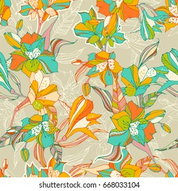 Tropical seamless pattern with peruvian lilies.
