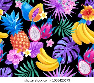 Tropical seamless pattern with pineapples, bananas, palm leaves and exotic flowers. Vector illustration.