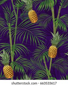 Tropical seamless pattern with pineapples, exotic palm leaves on dark background. Vector illustration.