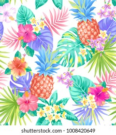 Tropical seamless pattern with pineapples, palm leaves and exotic flowers. Vector illustration.