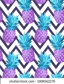Tropical seamless pattern with pineapples. Vector illustration.