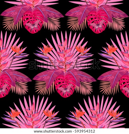 Tropical Seamless Pattern Pink Flowers Leaves Stock Vector Royalty