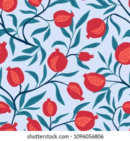 Tropical seamless pattern with pomegranate trees. Fruit repeated background. Vector bright print for fabric or wallpaper.