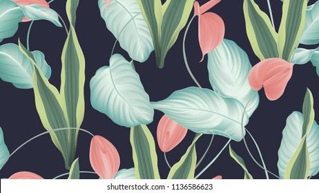 Tropical seamless pattern,  red Anthurium flowers, dumbcane, snake plant on dark blue background, pastel vintage style