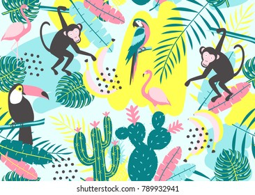 Tropical seamless pattern with toucan, flamingos, parrot, monkey, cactuses and exotic leaves. Vector illustration