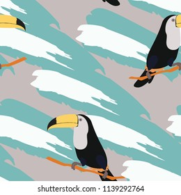 Tropical seamless pattern with toucan and leaves. Beautiful tropical leaves. Background with birds of the jungle for paper, covers, fabric.