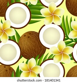 Tropical seamless pattern with whole coconut, half, palm leaves and frangipani (plumeria) flowers. Vector illustration.