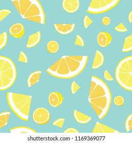 Tropical seamless pattern with yellow lemons background. Colorful wallpaper vector.