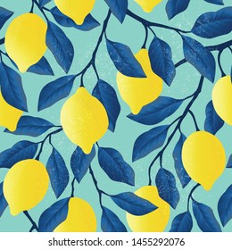 Tropical seamless pattern with yellow lemons. Fruit repeated background. Vector bright print for fabric or wallpaper.