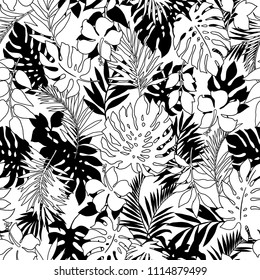 tropical seamless plants pattern, I designed a tropical plant, This picture is seamless,