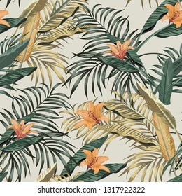 Tropical seamless realistic botanical pattern banana and palm leaves orange flowers lily on the white background