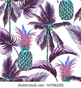Tropical seamless vector floral pattern background with palm trees, leaves, pineapples