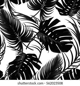 Tropical seamless vector floral pattern with palm leaves, jungle leaf. Tropic monochrome background, black and white illustration