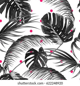 Tropical seamless vector floral pattern with palm leaves, jungle leaf. Tropic monochrome background, black and white illustration. Abstract texture, polka dot