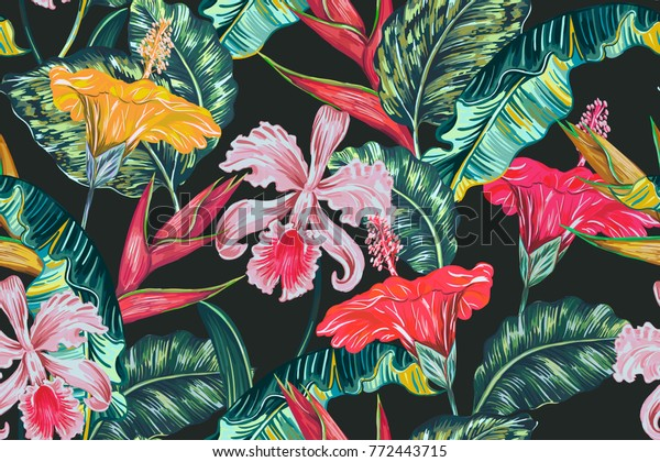 Tropical seamless vector floral pattern with exotic flowers, palm leaves, jungle leaf, hibiscus, orchid, bird of paradise flower. Vintage botanical illustration in Hawaiian style on dark background