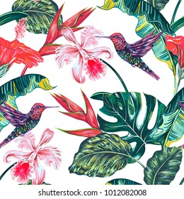 Tropical seamless vector pattern background with exotic flowers, hummingbirds, palm leaves, jungle leaf, red hibiscus, orchid flower, bird of paradise, colibri. Botanical floral summer illustration