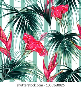Tropical seamless vector pattern background with exotic flowers, palm leaves, jungle leaf, hibiscus, bird of paradise flower. Summer design for fashion, prints, textile. Abstract striped texture