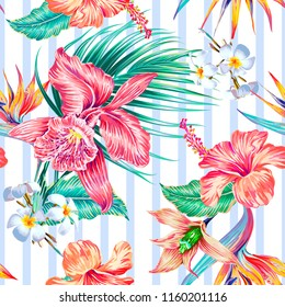 Tropical seamless vector pattern background with exotic flowers, palm leaves, jungle leaf, hibiscus, orchid, bird of paradise flower. Abstract geometric striped texture