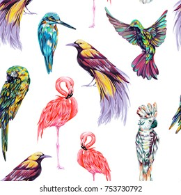 Tropical seamless vector pattern background with bird of paradise, pink flamingos, parrots, cockatoo, kingfisher, macaw parrot, hummingbird. Animals, exotic birds vector illustration