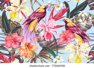 Tropical seamless vector pattern background with exotic flowers, palm leaves, jungle leaf, hibiscus, orchid flower, bird of paradise. Vintage vector botanical illustration