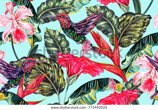 Tropical seamless vector pattern background with exotic flowers, hummingbirds, palm leaves, jungle leaf, hibiscus, orchid flower, bird of paradise. Botanical vintage colorful illustration