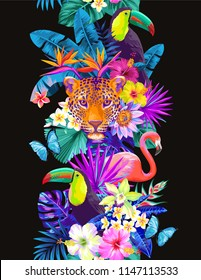 Tropical seamless vertical border with palm leaves, exotic flowers, wild animals and birds on a black background. Vector illustration.