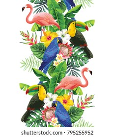 Tropical seamless vertical border with palm leaves, exotic flowers, parrots, toucan and  flamingo on a white background. Vector illustration.