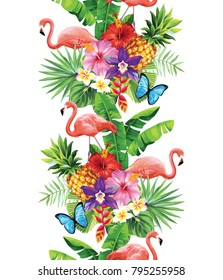 Tropical seamless vertical border with palm leaves, exotic flowers, pineapples and flamingos. Vector illustration.