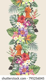 Tropical seamless vertical border with palm leaves, exotic flowers and hoopoe. Vector illustration.